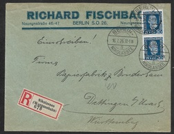 1926 - Dt.Reich - 16.7.26 MeF Fernbrief 2 X 20Pf (Mi.369) - R-zettel NIKOLASSEE WANNSEEBAHN - Kleines Postamt - Briefe U. Dokumente