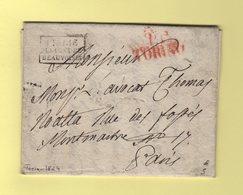 Torino PP - 1824 - Turin Port Paye Destination Paris - Entree Italie P. Le Pont De Beauvoisin - Italie
