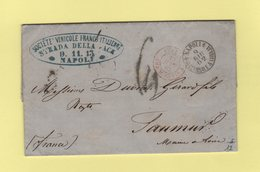 Napoli Succursale A Chiaja - 1862 - Destination Saumur France - Entree Italie Ambulant M. Cenis A - Societe Vinicole - Marcophilia