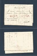"ARGENTINA. C. 1830s. Salta - Córdoba EL Full Text Red SALTA + FRANCA + Endorsement ""Servicio Urgente"" VF Scarce Complete - Argentinien"
