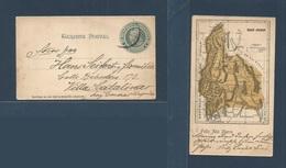 Argentina - Stationery. C. 1900, 4c Stat Card, Reverse San Juan Map Printed, Circulated To Villa Catalina. Fine + Scarce - Argentina
