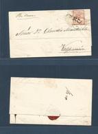 """ARGENTINA. 1859 (15 Feb) Mendoza - Valparaiso, Chile. E Fkd Confederacion 5c Tied FRANCA Cds + Endorsed 2 """"por Coreo"""". F - Argentine"""