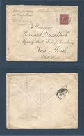 BELGIUM. 1900 (27 April) Val De St. Lambert - USA, NYC. Envelope Fkd Single 1fr Red Usage Tied Cds. Fine And Very Rarely - Belgium