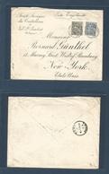 BELGIUM. 1900 (20 April) Val St. Lambert - USA, NYC. Multifkd Envelope With 25c Blue + 50c Grey-green Cds. Via Egypt + F - Belgium