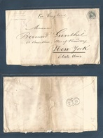 BELGIUM. 1881 (18 June) Val St. Lambert - USA, NYC (2 July) Via England. Single 1franco Lilac Fkd Envelope At Cuadruple - Belgium