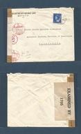 DUTCH INDIES. 1942 (19 Nov) Batavia - USA, Washington Single 15c Fkd Censored Envelope, Red Dutch + English Censor Label - Nederlands-Indië