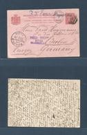 "DUTCH INDIES. 1893 (25-26) Pontianak, Borneo - Germany, Berlin (26 Febr 93) 7 1/2c Red Stat Card. Via Singapore + ""Ned I - Nederlands-Indië"