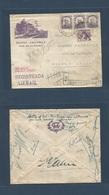 """Brazil - XX. 1935. RJ - Argentina, Bs As. Registered Air Hotel Ilustrated Multifkd Envelope + Reverse; """"recibida / Opene - Brasilien"""