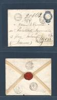 Brazil -Stationary. 1896 (6-8 July) Para - France, Lyon. Registered Air, 500 Rs Stationary Envelope. Fine + Private Prin - Brasilien