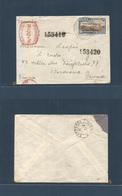 Brazil - XX. 1937. RJ - France, Bordeaux (21 Ago) Registered Fkd + MACHINE RED Franked Usage. Fine + Very Scarce Mix Ear - Brasilien