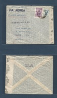 """Brazil - XX. 1941 (6 Nov) RJ - Scotland, Glasgow """"By Air Until USA"""" Violet Cachet (xxx/R) Air Multifkd Env + Censored. S - Brasilien"""