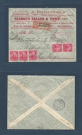 Brazil - XX. 1912 (22 Febr) Victoria, Esp. Santo - Germany, Hamburg (17 March) Color Ilustrated Env Registered Multifkd - Brasilien