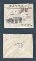 Brazil - XX. 1922 (23 Sept) Paranagua, Curytiba - Germany, Hamburg (20 Oct) Multifkd Env Bearing 150 Rs Lilac Pair + 20r - Brasilien