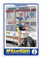 CARTE CYCLISME GIUSEPPE PETITO SIGNEE TEAM ECOFLAN GIS 1988 - Ciclismo