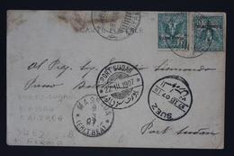 Italy Eritrea Sa Nr 21 , 2* On Picture Postcard MASSAOA MASSAU , SUEZ , PORT SUDAN 1907 - Eritrea