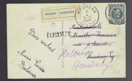 """193 / CP Fantaisie Houdeng 7 I 1927 Etiquette Bilingue """" Inconnu """" Et Griffe """" Rebut """" Manuscrit """" Retour Houdeng """" - 1922-1927 Houyoux"""