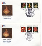 COSTA RICA 1989 FLOWERS FLORA 6 VALUES O 2 FIRST DAY COVERS SPECIAL POSTMARK - Costa Rica