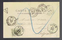 CP Lourdes 19 Mai 00 => Mons Taxée / Tx 6 + Dc Ambulant Feignies-Bruxelles 20 Mai 1900 Et Arrivée Et Taxée à Mons 21 Mai - Ambulante Stempels