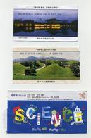 Lot De 3 Tickets Abîmés - 3 Damaged Tickets - Corée Du Sud, South Korea - Gyeongju Et Gwancheon - 2019 - 2 Photos - Tickets D'entrée