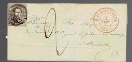 """Médaillon 10c / Lsc Obl à Barres La Louvière 5 Sept 1855 Vers Bruxelles Taxée """" 2 """" - België"""