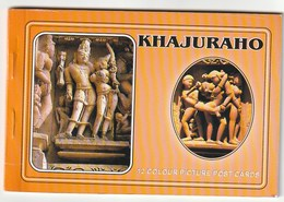 KHAJURAHO - 12 Colours Picture Post Cards - India