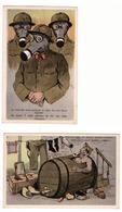 Armée Belge Réunion De 2 Cartes Humoristiques Soldats Avec  Masques à Gaz & Militaire Dans Un Tonneau - Humour