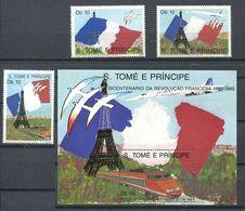 250 ST THOMAS Et PRINCE 1989  Yvert 948/50 - Revolution Francaise TGV Drapeau Tour Eiffel - Neuf ** (MNH) Sans Charniere - Sao Tomé E Principe