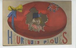 """GUERRE 1914-18 - Jolie Carte Fantaisie Enfant Soldat Dans Oeuf Britannique De """"Heureuses Pâques """" - Patriottisch"""