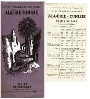 1949 - Compagnie Générale Transatlantique ALGERIE - TUNISIE - Tarifs De Passages - 2 Scans - Bateaux