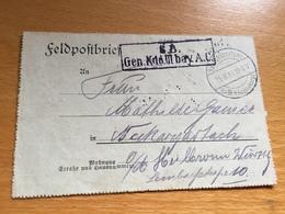 FELDPOST 1. WK  GEN. KDO. III BAY A. C.  1916 - Lettres & Documents
