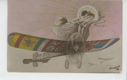 """GUERRE 1914-18 - AVIATION - Jolie Carte Fantaisie Femmes Sur Avion Aux Couleurs Des ALLIÉS """"Jusqu'au Bout ' - Patriottisch"""