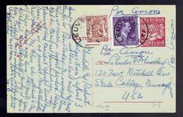 "CP 140 II + 693 + 715 Leuven 5 3 51 => U.S.A. ( Manuscrit "" Par Avion X 2 ) - Postwaardestukken"