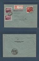 POLAND. 1943 (22 Oct) Nazi Occup. Mielec - Schmalkalden (24 Oct) Registered Hitler Issue Multifkd Env. Comercial. - Polen