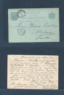 NETHERLANDS. 1892 (24 Nov) Rozendaal - Sweden, Norkoping (29 Nov) 5c Blue / Bluish QW Stat Card. Fine + TPO. - Netherlands