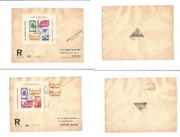MARRUECOS. 1937 (27-28 Sept) Tetuan - Peninsula. 2 Sobres Certificados Con HB. Matasellos Llegada. Bonitos. - Marokko (1956-...)