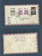 TAIWAN. 1962 (26 Jan) Taichung - Germany, Trier. Air Multifkd Mixed Issues Envelope. Nice. - Taiwan (Formosa)