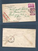 "DOMINICAN REP. 1942. Santiago - USA, Ralway. NJ. Fkd Air Envelope + Special ""US Censor / Passed/***"" Cachet (RRR) Very S - Dominikanische Rep."