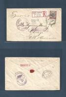 DOMINICAN REP. 1913 (25 March) Sto Domingo - USA, Chicago (10 April) Registeed Fkd Env. 10c Rate + Tied. R - Label. VF. - Dominikanische Rep.