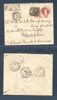 Brazil -Stationary. 1914 (26 Jan) Nuponanga - USA, Pha, Po (23-24 Feb). Registered 100 Rs Red Statenv + Adtl. VF. - Brasilien
