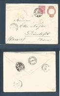 Brazil -Stationary. 1893 (19 April) Campinas - France, Dienlegit (14 May 93) 100rs Red Stat Envelope + 100 Rs Rose Adtl, - Brasilien