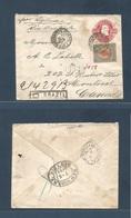 Brazil -Stationary. 1891 (12 June) RJ - Canada, Montreal (7 July) Registered Multifkd 300rs D. Pedro Late Stationary Env - Brasilien