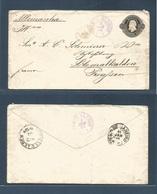Brazil -Stationary. 1884 (3 Jan) Porto Alegre - Germany, Prensen, Schmalkalden (11 Feb) 200rs Black D. Pedro Stt Envelop - Brasilien
