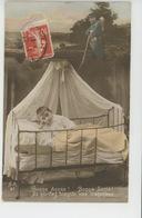 """GUERRE 1914-18 - Jolie Carte Fantaisie Poilu Et Enfant Dans Berceau """"Bonne Année... Et Quittez Bientôt Vos Tranchées """" - Patriottisch"""