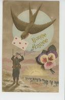 """GUERRE 1914-18 - Jolie Carte Fantaisie Poilu Et Hirondelle De """"Bonne Année"""" - L'Aube Nouvelle - Patriottisch"""
