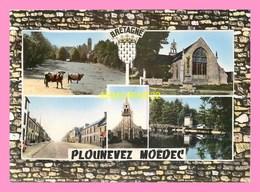 CPM PLOUNEVEZ MOEDEC Le Chateau Et La Chapelle  De Pors An Parc , Chapelle De Keramanac H, La Route Nationale - Autres Communes