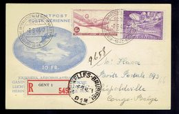 PA 9 + PA 14 / Carte Rec.  Journées Aérophilatéliques  Gand + Vign. Au Verso 8 9 46 => Léopoldville Congo Belge 10 9 46 - Poststempels/ Marcofilie