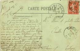 Belgique.  CPI Reims > Poncelle Tintigny   1912 - Poststempel
