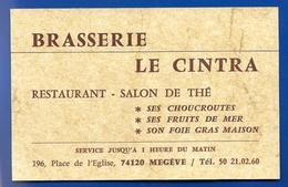 Carte De Restaurant LE CINTRA MEGEVE - Cartes De Visite