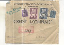 Lettre Recommandée De Lisboa Vers Douala (Cameroun) 1949 - 1910-... République