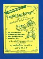 Carte De Restaurant L'ASSIETTE Aux FROMAGES Rue Mouffetard Paris - Visitenkarten